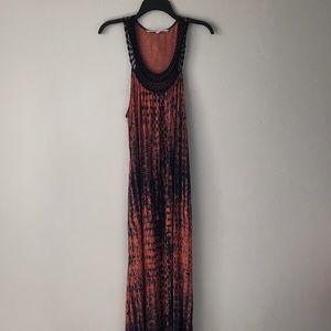 Rachel Roy Rust and Navy Print pocketed maxi dress